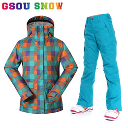Wholesale Female Ski Jackets - Wholesale- Gsou Snow Winter Ski Suits Women Thermal Super Warmth Snowboard Jacket and Pants Cotton Waterproof Windproof Female Snow Clothes