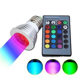 Wholesale rgb home spot - 3W E27 E14 GU10 RGB LED Bulb 16 Color LED Spotlight with IR Remote Controller AC85-265V Spot LED Lamp for Home Party Decoration