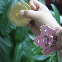 Wholesale Mechanical Gears Wholesale - 2017 five point spinner Five-angle Five Mechanical Gear Linkage Finger Fidget Star Hand Spinner Alloy Fingerspinner EDC Decompression Toys