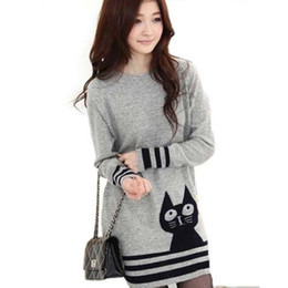Wholesale Cute Womens Sweaters - Wholesale-Retail Wholesale Korean Womens Long Sleeve Sweater Cute Cat Pattern O Neck Knitted Pullover Tops Knitwear