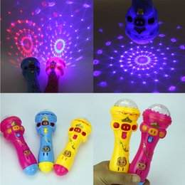 Wholesale Sky Projection Lamp - Wholesale- LED Flashing Karaoke Singing Microphone Pig Toy Sky stars Projection Ball Light Kids Magic stick Funny Gift for Children