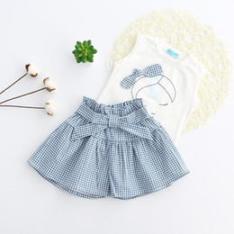 Wholesale Strip Skirt - Fashion Baby Girls Dress Child Clothing Sets Summer Short Sleeve T-Shirts+Strip Skirts Outfits Set 2 Piece Free Shipping