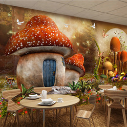 Wholesale Korean Mushroom Cartoon - Custom 3D Mural Wallpaper Cartoon Fairy Tale World Mushroom House Butterfly Flower Photo Background Children's Room Wallpaper 3d