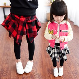 Wholesale 5t Girls Leggings - Children Girls Pantskirt Plaid Leggings Red White Plaid Asymmetrical Cotton Black Kid Girls Tights Skinny Pants With Skirt