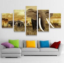 Arte africana da pintura a óleo on-line-5 Painel Modern Impresso Pintura a Óleo Da Arte Da Parede Da Lona de Elefante Africano Cuadros Decoracion Para Sala de estar Sem Moldura