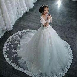 Wholesale Pure White Crystal Wedding Dresses - Elegant Vestido de noiva manga longa A-Line Vintage Wedding Dresses Long Sleeve Bride Dress Wedding Gown Pure White Vestido de casamento New