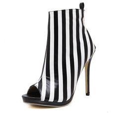 Wholesale womens toe covers - Autumn new Gladiator Roman Sandals Womens Sexy High Heels Open Toe Thin Heel PU stripe Short Boots Stilettos Nightclub Shoes Fall Winter