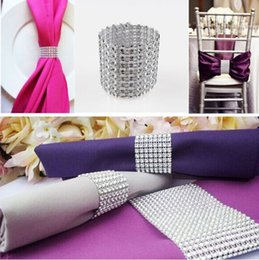 Wholesale Wholesale Party Supplies Tables Chairs - Rhinestone Bow Covers 8 Row - silver wedding chair sash napkin rings Hotel Table Decorations