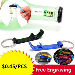 Wholesale Engrave Tools - New Kitchen Tools mixed colors Aluminum alloy bottle openers with keyring ,laser engraving logo bottle Openers Free engraving