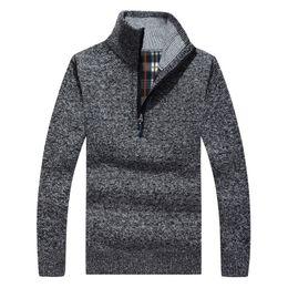 Wholesale Yellow Wool Long Coat - Wholesale- Thick Warm Winter Sweaters Coat Men's Zipper Pullover Cashmere wool Sweaters Man Casual Knitwear Fleece Velvet Clothing 50wy