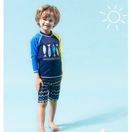 Wholesale Sun Suits Kids - 2017 new arrival Boys sun protection Long sleeve Swim suit 2pc set fashion Shark printing kids Swimwear set for 5-9T