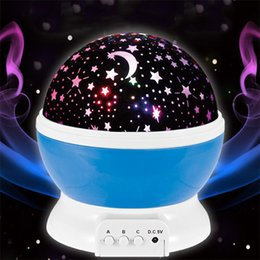 Wholesale Rotation Night Lamp - Rotating Night Light Projector Best Romantic Star Lamp Moon night Rotation Lamps Projection With High Quality for Kids Bedside