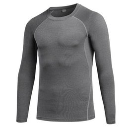 Wholesale mens long running shirt - Mens Sports Compression Wear Long Sleeve T Shirt Running Training Fitness Clothing Elastic Compression Fast-drying Fitness Clothes S-XXL