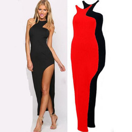 Wholesale Cut Out Maxi - Women Sexy Wear Summer Style Bodycon Dresses Black Cut Out Striped Trim Sleeveless High Neck Split Sheath Maxi Dress