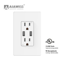 Wholesale Usb Wall Plates - AIAWISS Smart Ultra High Speed 4A USB Charger Outlet 15 AmpTR Receptacle | Screwless Wall Plates, White