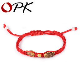 Wholesale Opk Jewelry - Wholesale- OPK Chinese Red Rope Charm Bracelets Casual Handmade Wood Fish Design Adjustable Women Men Jewelry For Unisex Cheap Price
