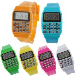 Relojes multipropósito online-Unsex Women Men Watch Silicone Multi-Purpose Date Time Reloj de calculadora de muñeca electrónica