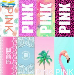 Wholesale Wholesale Pink Beach Towels - 140*70cm Pink Letter Beach Towel Fitness Sports Towels VS Bath Towel Leopard Flower Swimwear Bathroom Beach Towels 33 Designs DHL Free