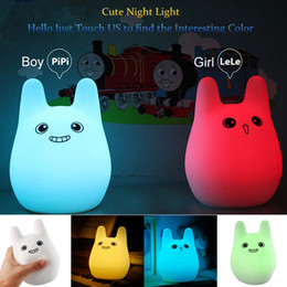 Wholesale 3d Gif - Colorful 3D Cartoon Creative Cute Rabbit Silicone LED Night Light 7 Colors Touch Sensor USB Charging Beside Table LED Lamp Children Kids Gif