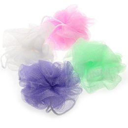 Wholesale Plastic Scrubbers - Wholesale-4 Pcs Bath Ball Mesh Hole Body Wash Scrubber Shower Pouf