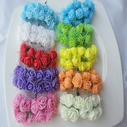 Wholesale Silk Mini Flower Heads - Wholesale-144pcs Diameter 2-2.5CM head Multicolor PE Rose Foam Mini artificial silk Flowers Bouquet Solid Color wedding decoration wreaths