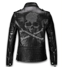 Wholesale Leather Hooded Biker Jacket Men - Wholesale- 2017 High quality Bomber Motorcycle Biker Slim Leather Jacket Men PU Mens Leather Jackets Diamonds Skull Punk Veste Cuir Homme