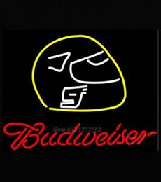 "Wholesale Vintage Beer Neon Signs - Budweiser Vintage Hascar Helmet Neon Sign Beer Bar Pub Store Motel KTV Display Real Glass Tube Customized Art Neon Signs 17""X14"""