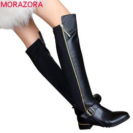 Wholesale Ladies Shoes Zipper - Wholesale-Plus size 34-42 Hot sale pu+genuine leather boots buckle zipper square heel autumn winter knee high boots fashion ladies shoes