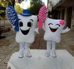 Wholesale Tooth Costume Make - 2016 new High quality teeth and toothbrush Mascot Costumes adult size Fancy dress Christmas Party Dress Free Shipping