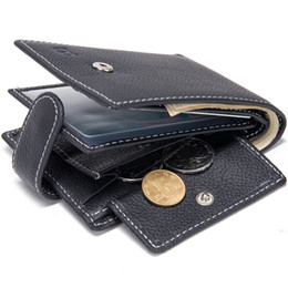 Wholesale American Cows - Baborry Dollar Price Men's Wallets Genuine Cow Leather With Coin Pocket Black Thin Slim Hasp 3 Folds ID Card Holder Purse Wallet