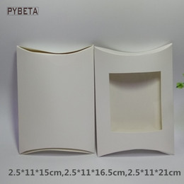 Wholesale Wholesale White Candle Boxes - 50pcs lot- White paper pillow box with clear PVC window display box for candle toys sample candy party gift packaging