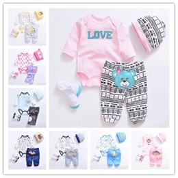 Wholesale Cute Baby Clothes For Boys - 10colors Newborns Spring cartoon Romper 4pc set cute Hat embroidery Romper Pants Socks Baby clothes girls boys best gifts Outfits for 3-12M