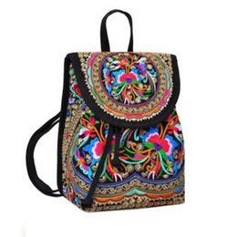 Wholesale Nice Travel Bags - Wholesale- Lady New Embroidery Unique Nice School Bag Ethinic Travel Rucksack Shoulder Bags Women National Style Backpack