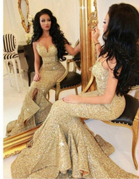 Wholesale Picture Bling - New Designer 2017 Mermaid Gold Prom Dress With Slit Lace Appliques Open Back Sequins Evening Dresses Pageant Gowns Bling Front
