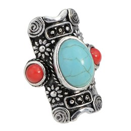 Wholesale Green Tibetan Rings - Bohemian Jewelry Tibetan Antique SilverTurquoise Finger Retro Rings Female Costume Jewelry Anel