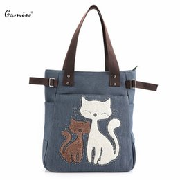 Wholesale Zippered Tote Wholesale - Wholesale- Women Bag Cute Cat Print Beaded Zippered Women Canvas Handbag 2016 Gamiss New Arrival Women's Tote Lady Crossbody Bags 1672488