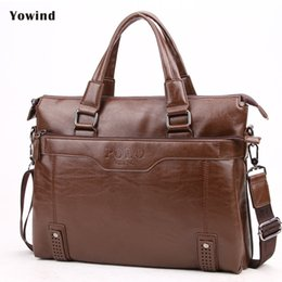 Wholesale Wholesale Leather Briefcases - Wholesale- YOWIND High Quality Leather Men Bag Men's Briefcase Leather Laptop Bag business Male men travel Handbag Tote crossbody Bags
