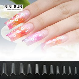 Wholesale Smile Line Nail Tips - Wholesale- Curved Nail Tips Completely Bend Salon Faux Ongles French Manicure Nail Art Deep Smile Line Fake Nail Tips With Free 50PCS