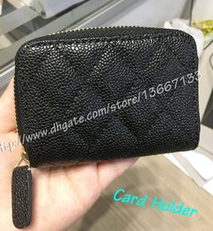 Wholesale Mini Top Box - 2018 Women's Fashion Small Zipper Wallet Genuine Caviar Leather Coin Purse Top Quality Men's Card Holder wallets with box