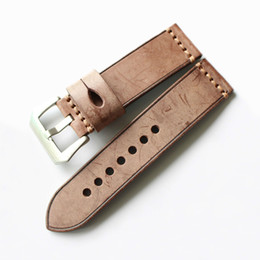 Wholesale Vintage Bell Watch - Brown Red Green Vintage Genuine Leather Band Watch Straps with Steel Buckle 20mm 22mm 24mm 26mm