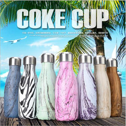 Wholesale Wholesale Mini Coffee Cup - Mini Sport Cycling Water Bottle 350ML Stainless Steel Vacuum Insulation Cup Coke Bottle Thermos Coffee Cup OOA2052