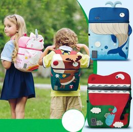 Wholesale Kids School Cloths - 4 Styles Waterproof Cloth Unicorn Backpack Cartoon Colorful Unicorn Whale Shoulder Bag Kids Rainbow Unicorn Elk School Bag CCA8172 30pcs