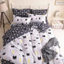 Wholesale Duvet Pcs - Quality Batman Mask Bedding Set Cartoon Black White Duvet Cover Bed Set Beddings Single Full Queen King Size Bedclothes Bedspread Promotion