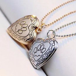 Wholesale silver plated photo frames wholesale - Photo Frame Memory Locket Pendant Necklace Silver Gold Color Mother's Day Gift Pet Cat Dog Paw Footprint Pendant Chain Jewelry For Child