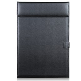 Wholesale A4 Paper Folder - Wholesale- Magnetic Office Desktop Leather A4 File Paper Clip Folder Drawing & Writing Clip board Tablet Pad With Pen Holder Black A206