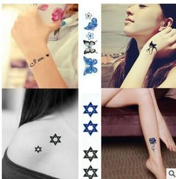 Wholesale Crown Picture - Waterproof temporary tattoo of Cute pictures butterfly's rose animal crown five styles can choose