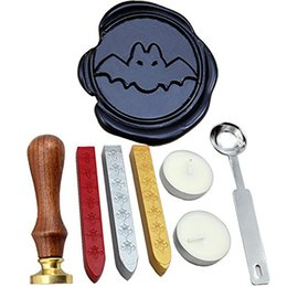 Wholesale Vintage Halloween Bat - Vintage Halloween Bat Wax Seal Stamp Set With Gold Red Silver Sticks Rosewood handle Stamp Kit