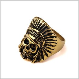 Wholesale Chief Skull - Men Vintage Stainless steel Ring Hip hop Punk Style Gold Plated Black Oil Indian Chiefs Head Skull Rings Jewelry