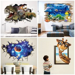 Wholesale 3d Paper Plane - 3D Animals Dinosaur Sky Wall Stickers Paper Space Planet GiraffeDolphin Stereo Environmental Home Decor Sticker for Living Room 5 2ya