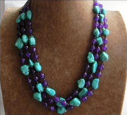 Wholesale Purple Jade Faceted - Free Shipping >>>>New 3 Rows Nugget Turquoise & Faceted Purple Amethyst & Crystal Beads Necklace